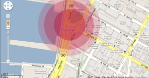 This graphic shows the blast zone that would be created if an explosion similar to the one that occurred in San Bruno, CA, last year were to happen in Manhattan at the location of the natural gas pipeline proposed for the city by Spectra Energy.